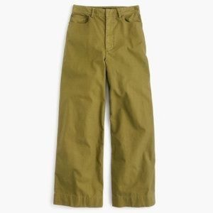 NWT J. CREW High-Waisted Cotton Canvas Olive Pants